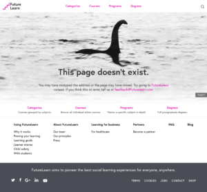 UX et SEO Page error404 futurelearn